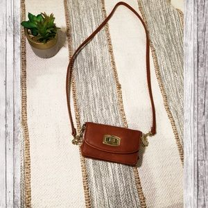 Brown leather crossbody ✨